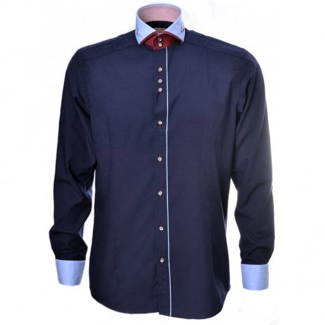 Guide London Men's Navy Blue Long Sleeve Shirt