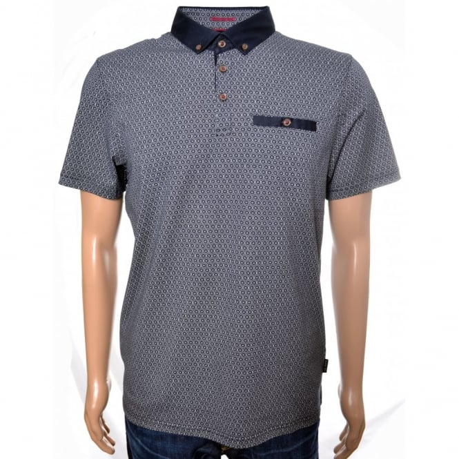 139867a503df6 Men  039 s Ted Baker Navy Blue Elwhite All Over Printed Polo Shirt
