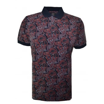 Pretty Green Men's Black Turner Paisley Polo Shirt