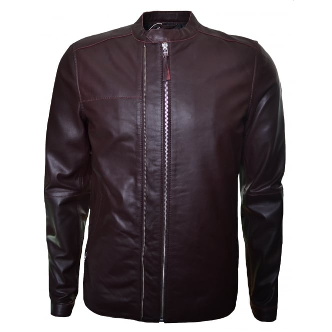 Pretty Green Men's Burgundy Addison Leather Jacket
