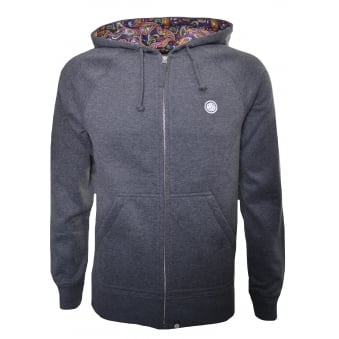Pretty Green Men's Grey Raynham Hooded Zip Through Sweatshirt