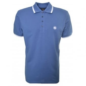 Pretty Green Men's Mid Blue Short Sleeve Polo Shirt