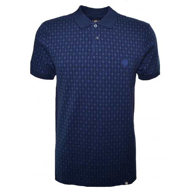 Pretty Green Men's Navy Blue Abbott Jacquard Polo Shirt