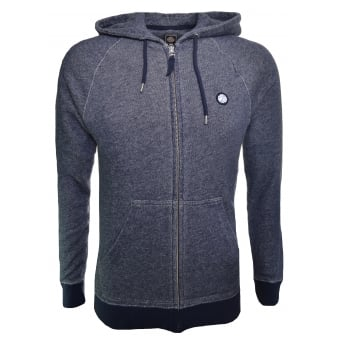Pretty Green Men's Navy Blue Marl Oxted Hooded Zip Through Sweatshirt