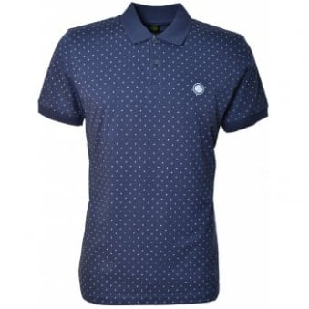 Pretty Green Mens Navy Blue Polka Dot Polo Shirt