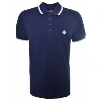 Pretty Green Men's Navy Blue Short Sleeve Polo Shirt