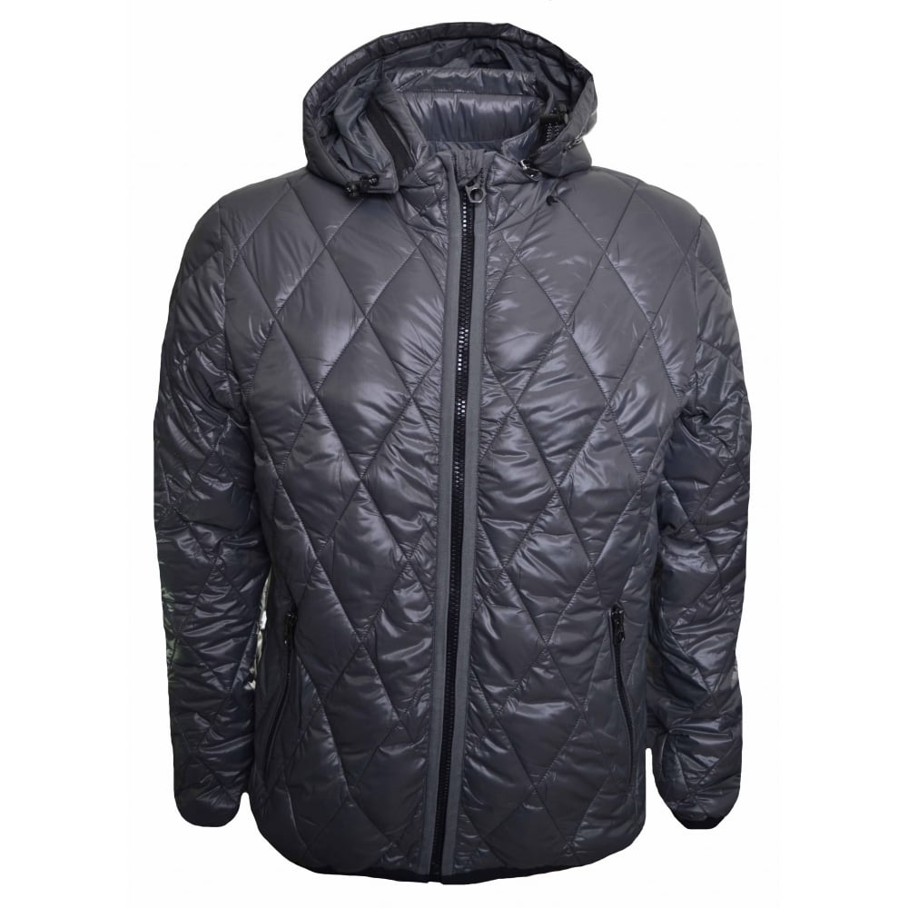 replay mens grey quilted jacket