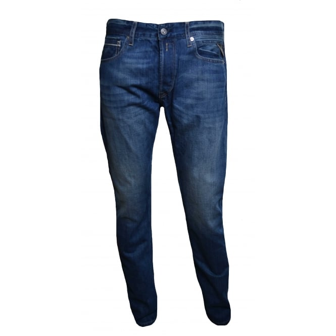 Replay Men's Grover Blue Denim Straight Leg Jeans
