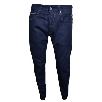 Replay Men's Grover Dark Blue Denim Straight Leg Jeans