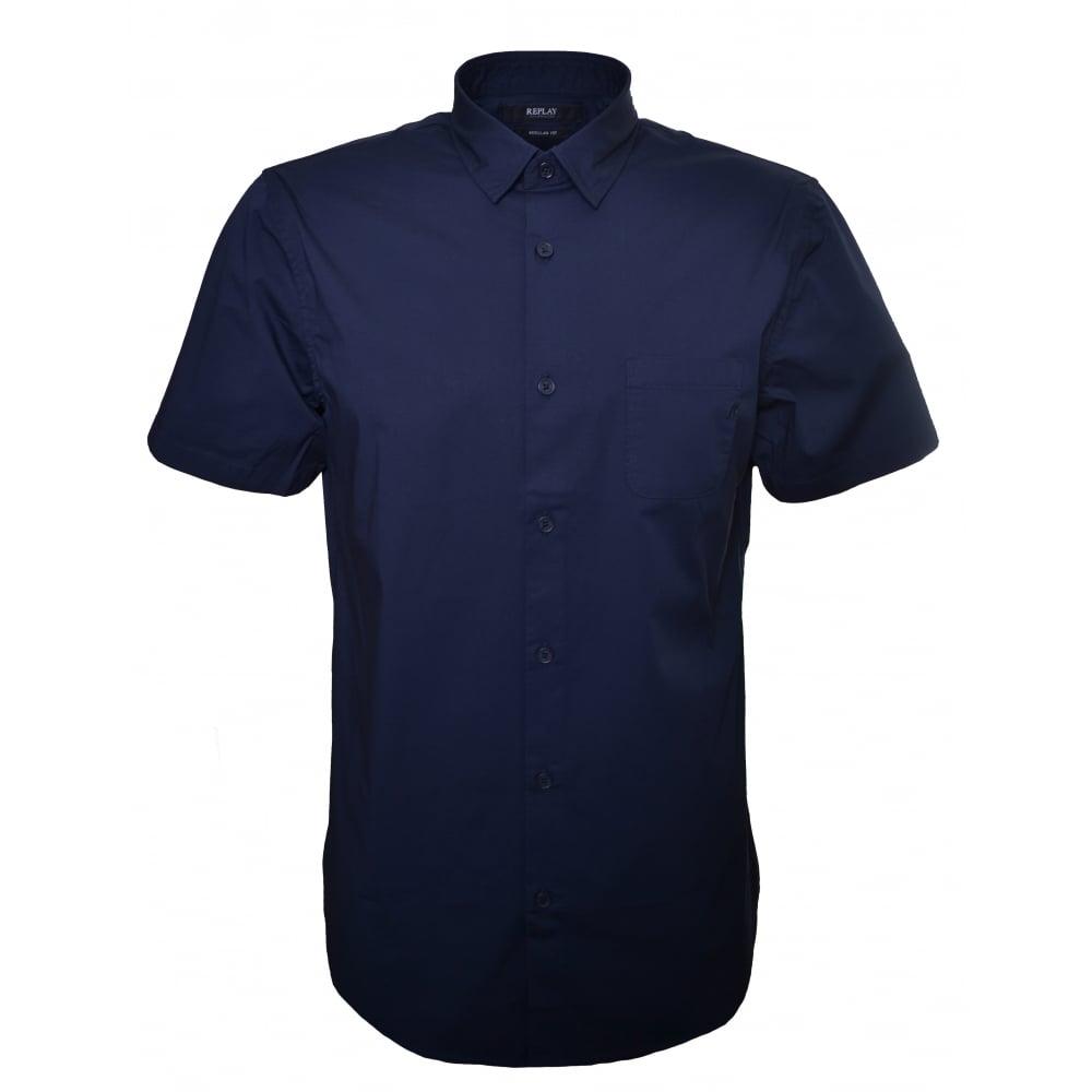b4bfeb4a Replay Men's Navy Blue Regular Fit Short Sleeve Shirt