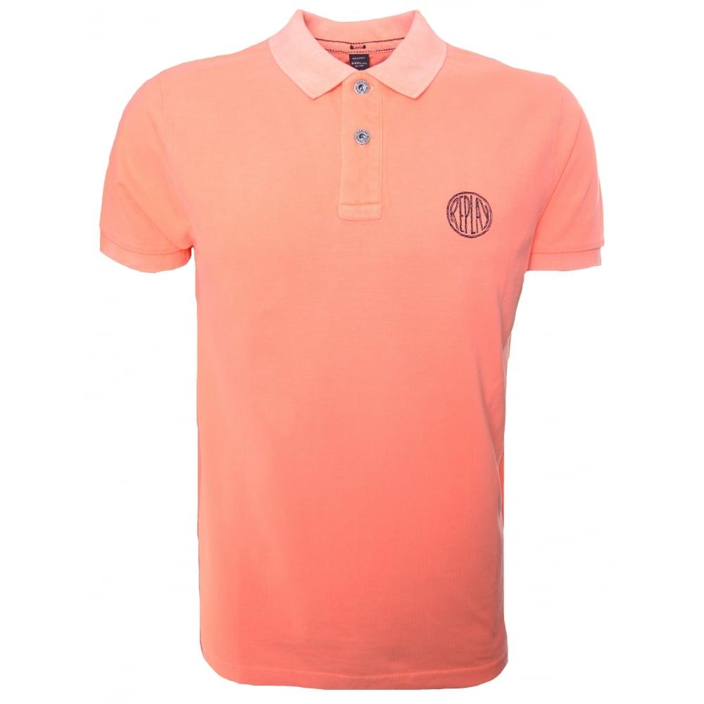 326b9a2c Replay Mens Orange Short Sleeve Polo Shirt