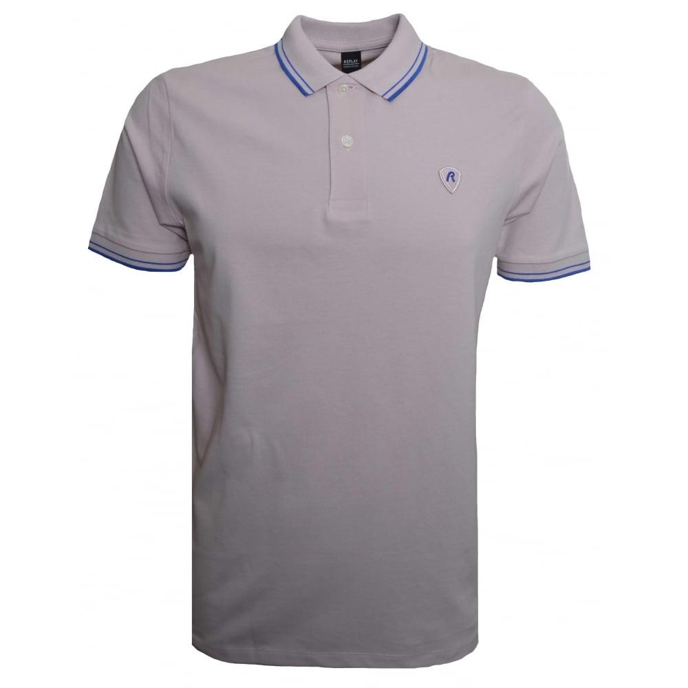 4b6c2a0e0267 ... discount replay men039s pale pink short sleeved polo shirt 47080 e8bdd