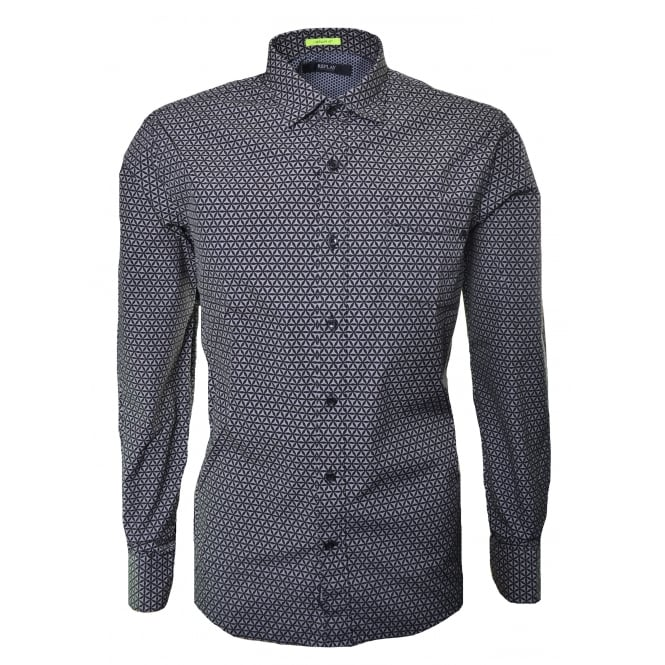 Replay Men's Regular Fit Black And Grey Long Sleeve Shirt