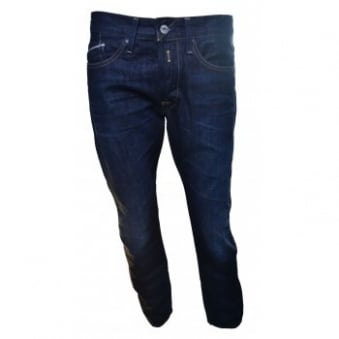 Replay Men's Waitom Deep Blue Denim Regular Slim Jeans
