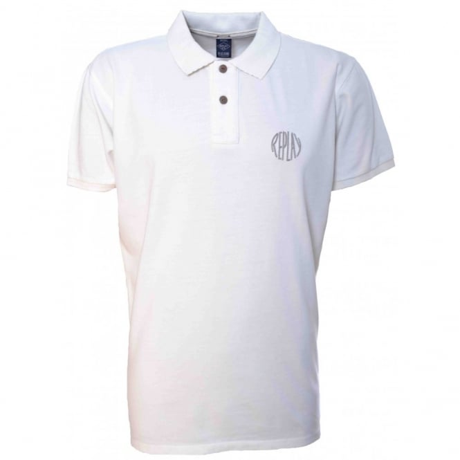 Replay Mens White Short Sleeve Polo Shirt