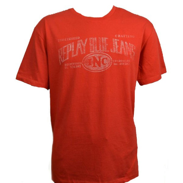 Men 39 S Replay Blue Jeans Inc T Shirt In Red