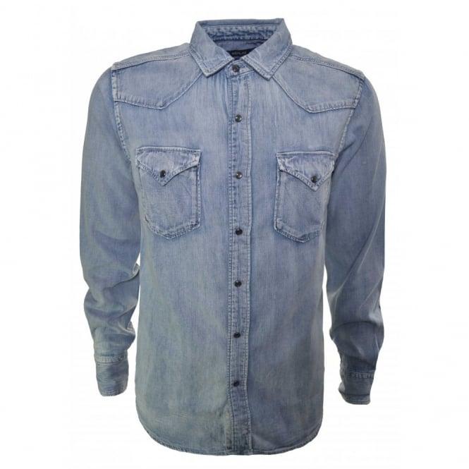800062683 replay men's long sleeve blue denim shirt