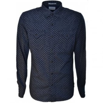 Replay Mens Navy Blue Patterned Shirt