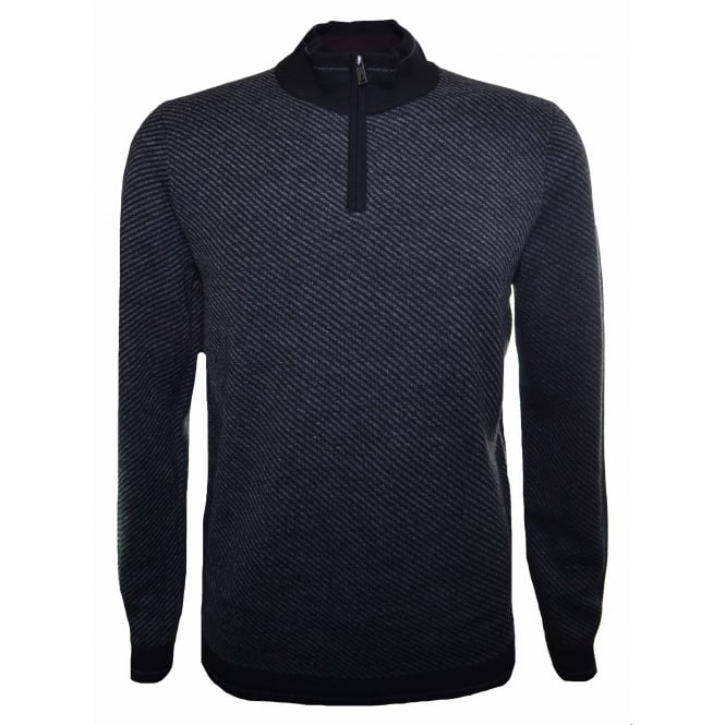 Ted Baker Men's Black Rumrays Half Zip Jumper