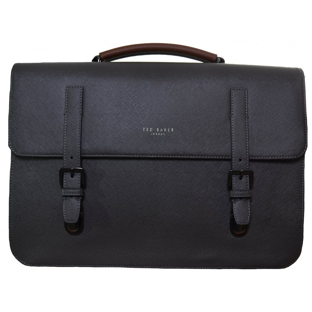 d07856ac9e9e5 Ted Baker Men  039 s Charcoal Cross Grain Lansky Satchel Bag