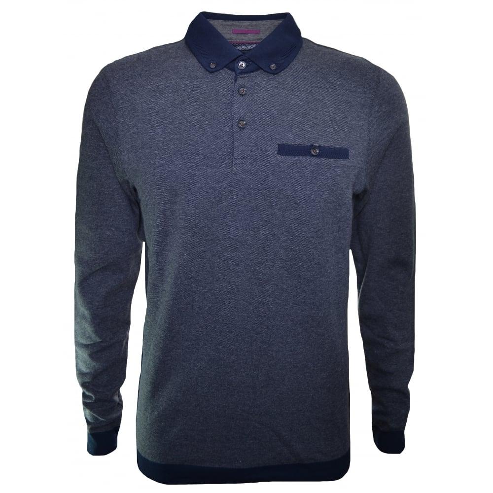 839e2a5e79d6a Ted Baker Men  039 s Charcoal Ronaldo Long Sleeve Polo Shirt