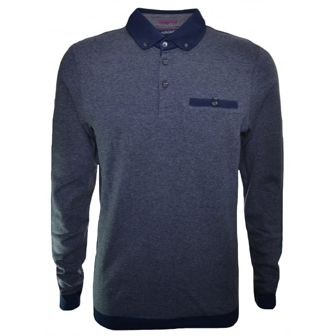 Ted Baker Men's Charcoal Ronaldo Long Sleeve Polo Shirt