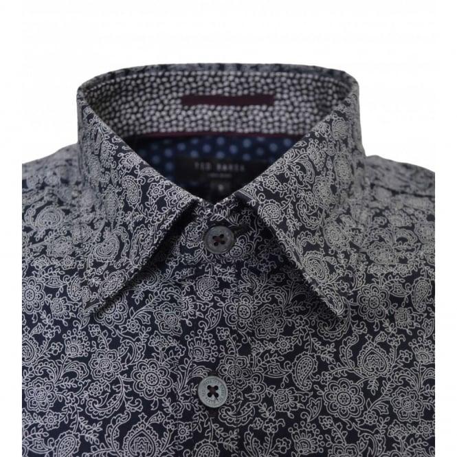 51fb61a0c03 Ted Baker Ted Baker Men's Florall Black Floral Print Shirt