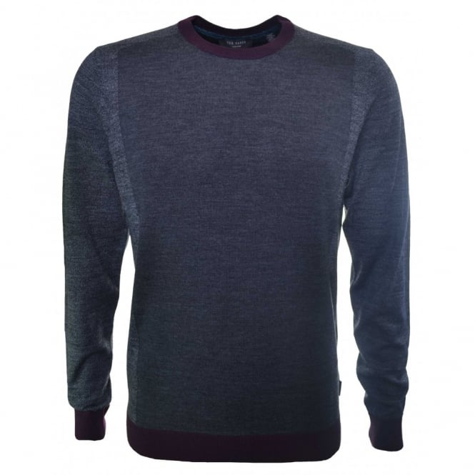 Ted Baker Men's Lewcat Grey Knitted Wool Jumper
