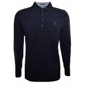 9b0e1ad7eb74e6 Ted Baker Men s Navy Blue Denn Long Sleeved Polo Shirt