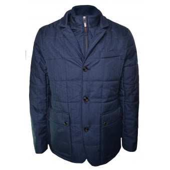 Ted Baker Men's Navy Blue Jasper Quilted Jacket