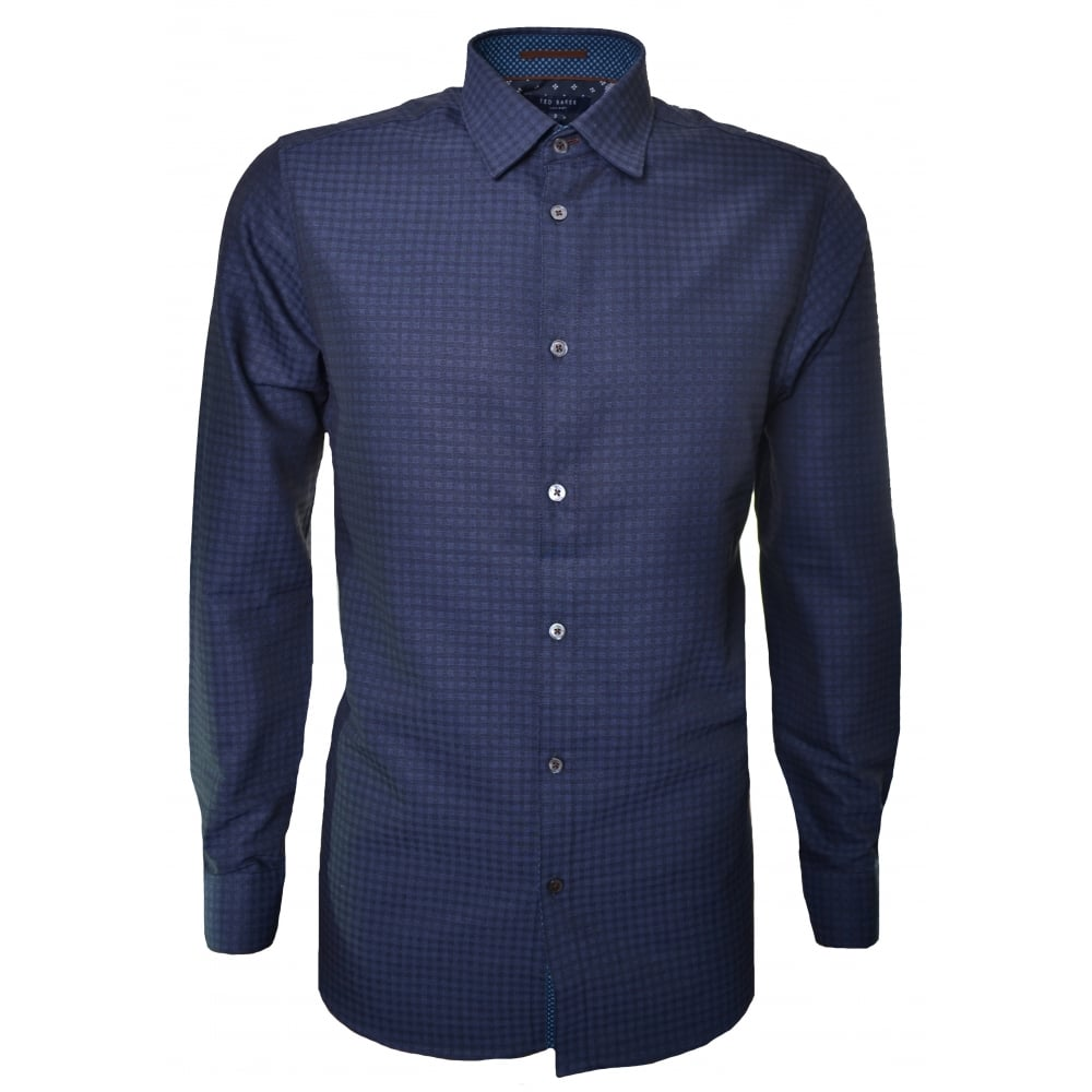 ted baker mens long sleve navy blue shirt