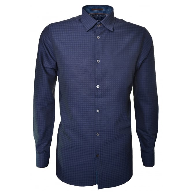 Ted Baker Men's Navy Blue Rugbee Check Long Sleeve Shirt