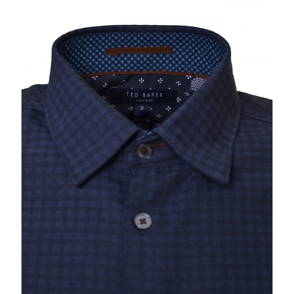 b464f29a292 Ted Baker Men  039 s Navy Blue Rugbee Check Long Sleeve Shirt
