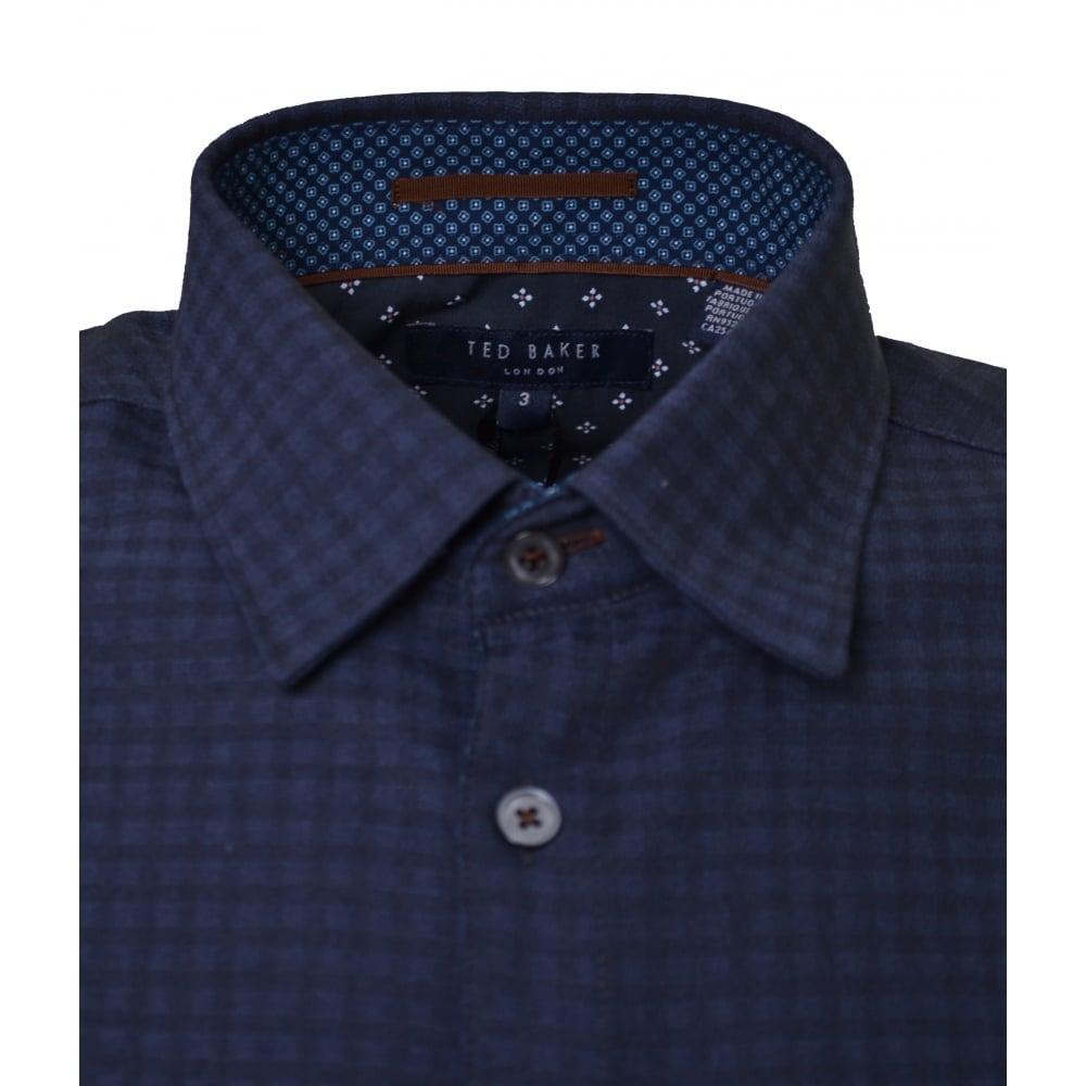 0a341188 Men's Navy Blue Rugbee Check Long Sleeve Shirt