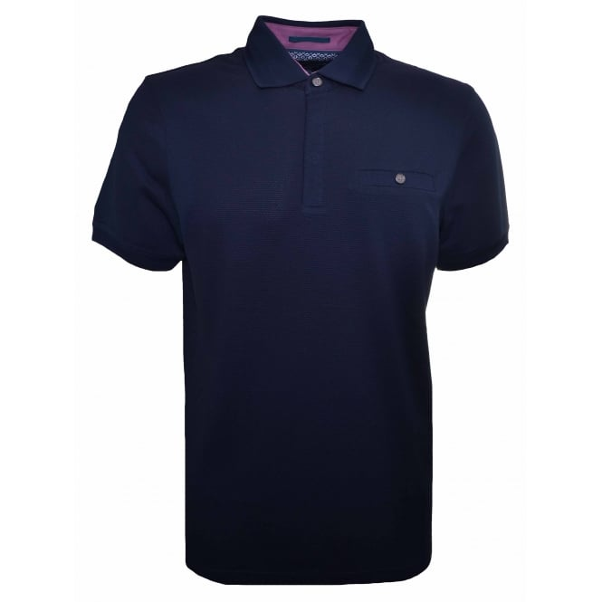 Ted Baker Men's Navy Blue Witnay Textured Polo Shirt