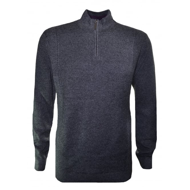 Ted Baker Men's Pinball Grey Marl Half Zip Knitted Jumper