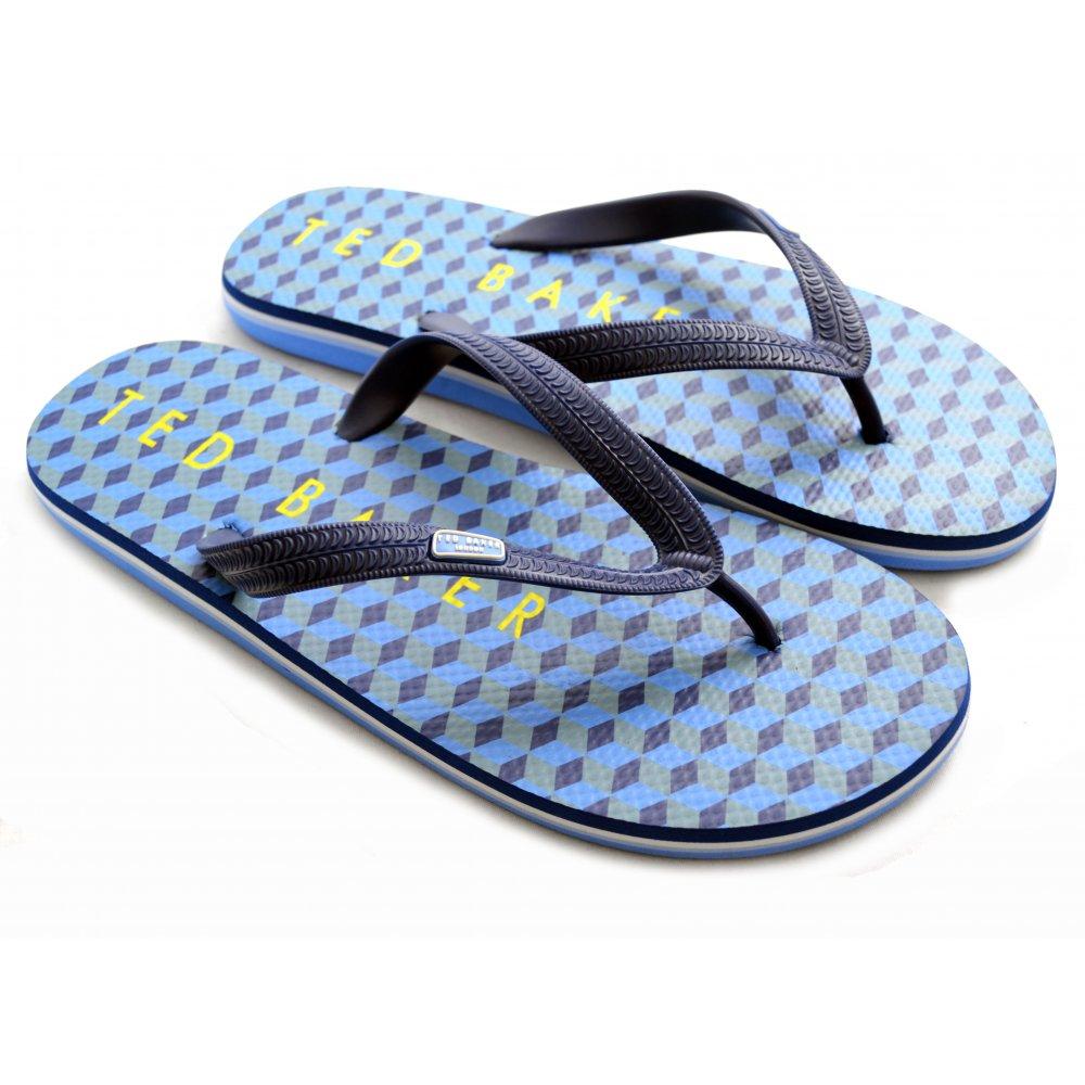 Ted Baker Geometric Print Rubber Flip Flops,Dark Blue