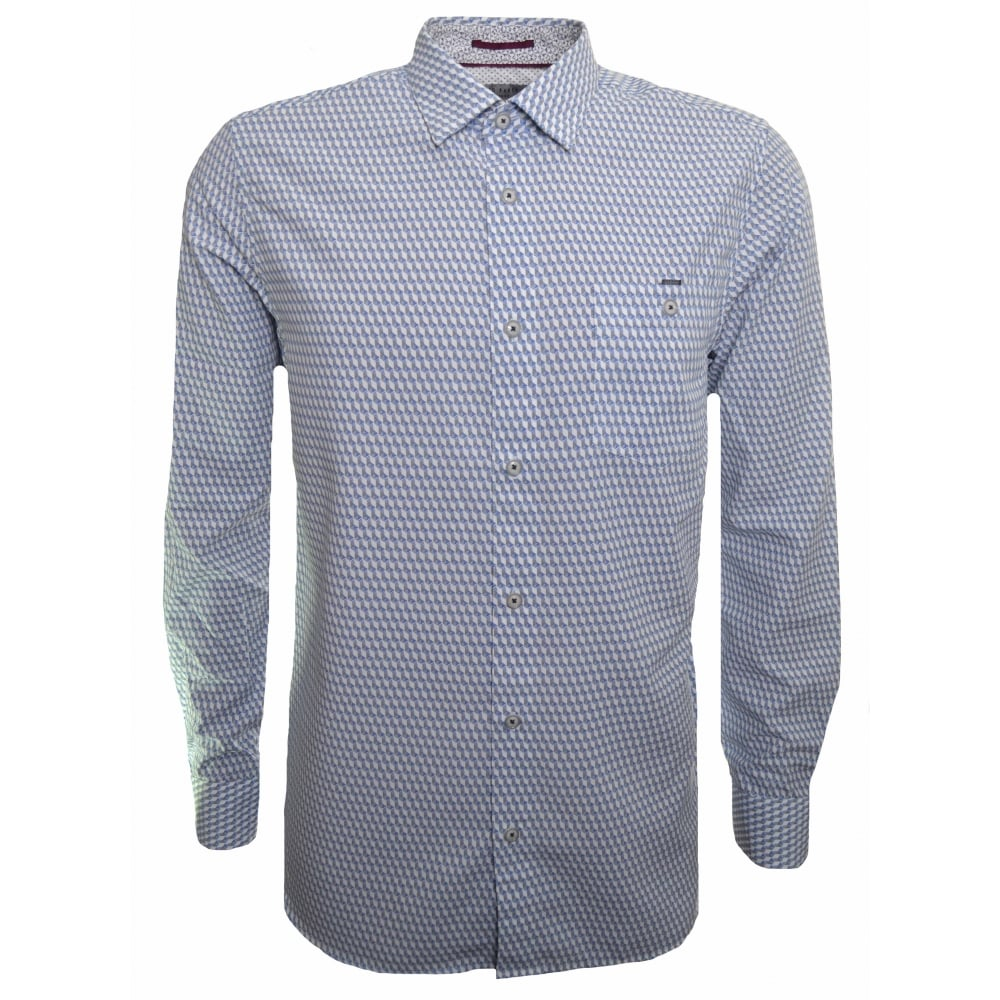 6c6653f65 Ted Baker Men  039 s White And Blue Geo Print Long Sleeved Shirt