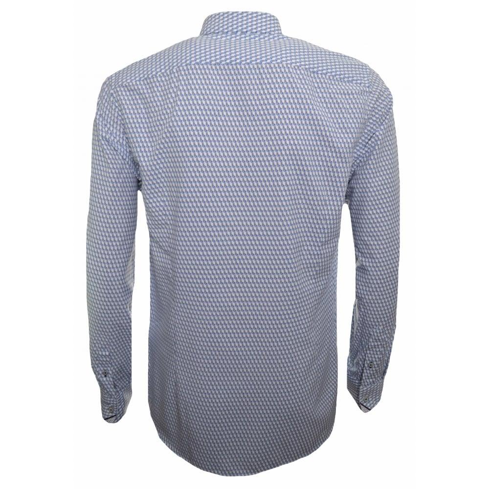 b4b98fc951b Ted Baker Men  039 s White And Blue Geo Print Long Sleeved Shirt