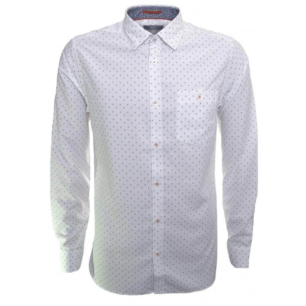 ted baker men's evrytoo white long sleeve shirt