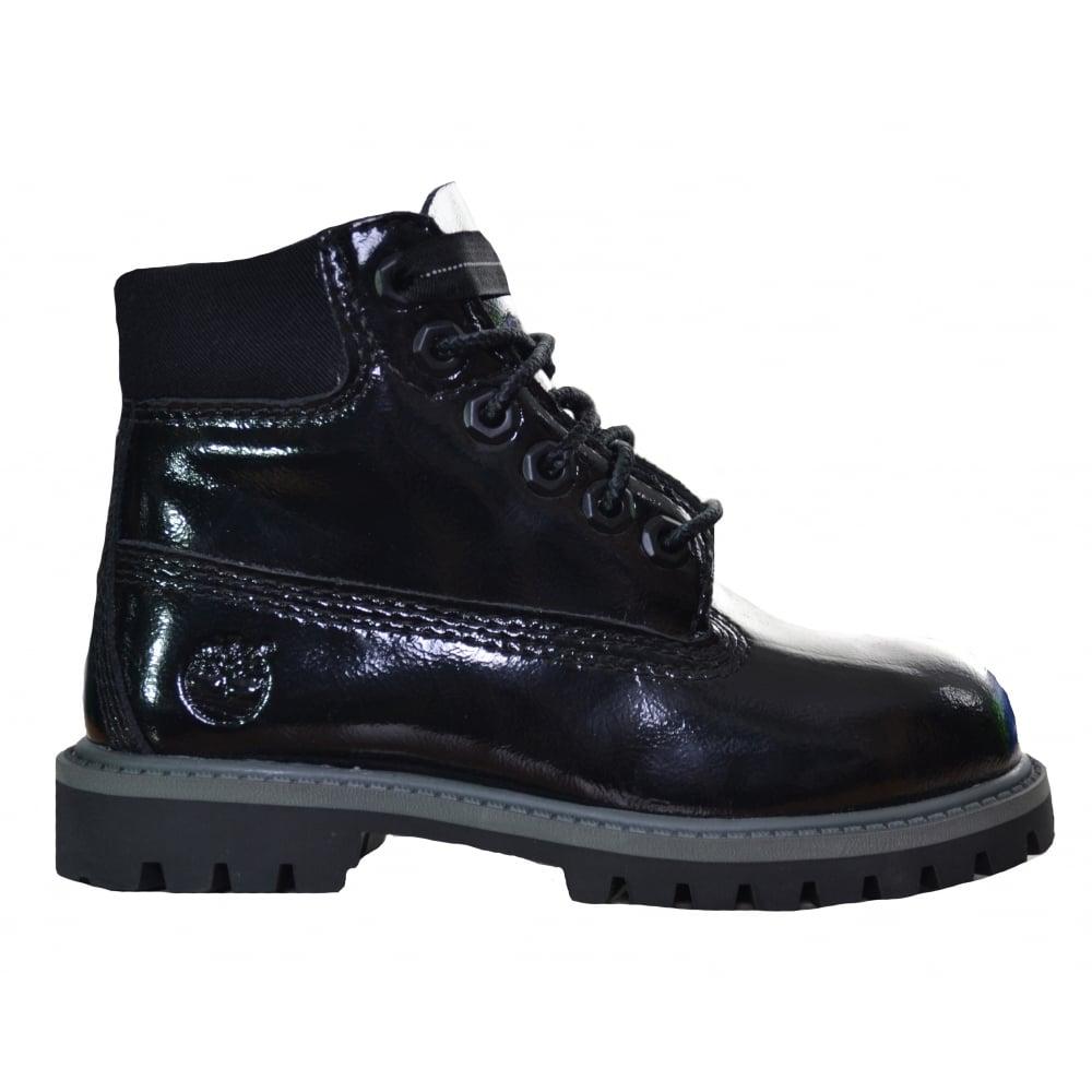 Kids Black Patent Timberland Boots