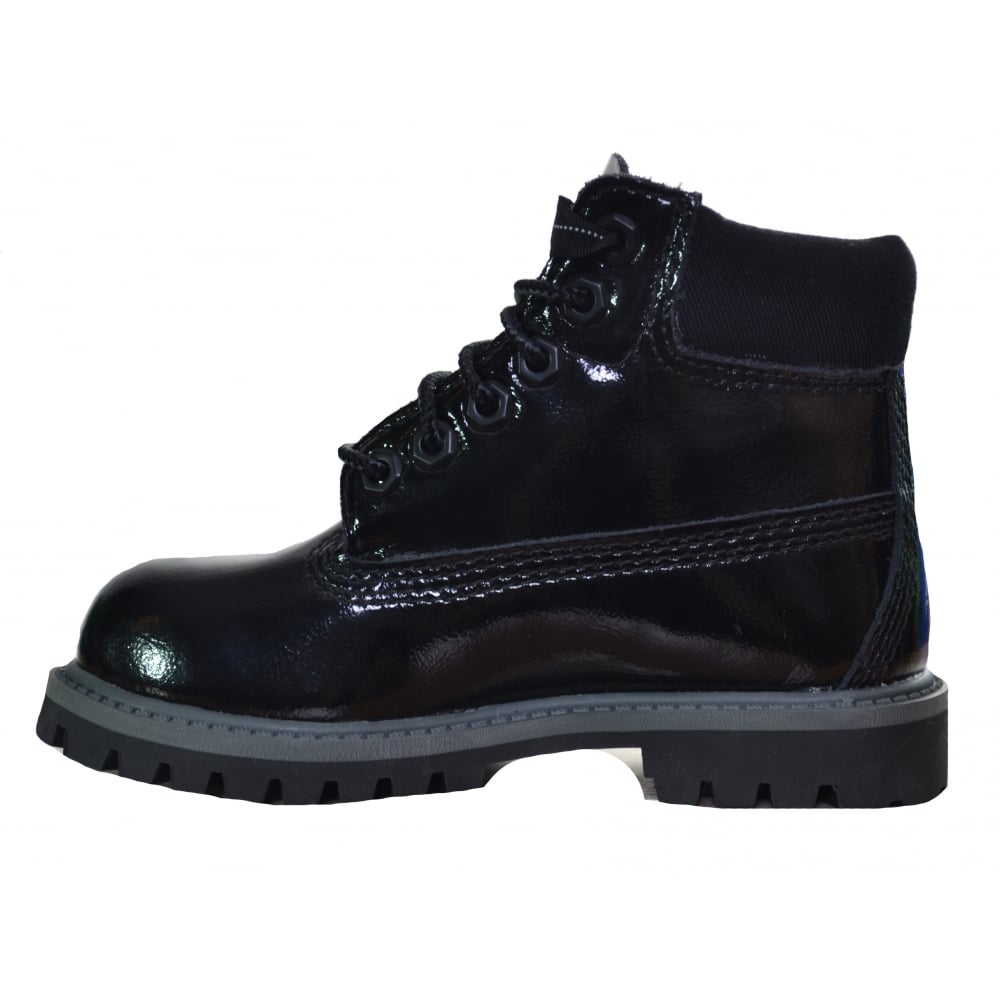 392fb2e537 Timberland Girls Black Patent Leather 6 Inch Boots