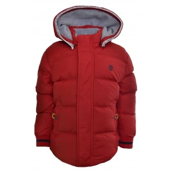 Timberland Kids Red Hooded Puffer Jacket