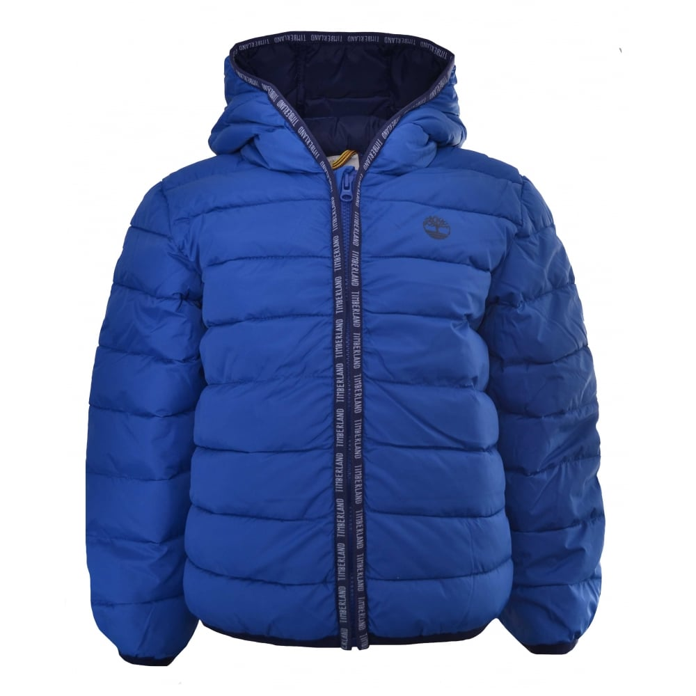 3945ba774a34 timberland kids blue hooded puffer jacket