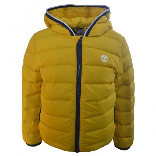 timberland kids Yyellow hooded puffer jacket 039b72402df5