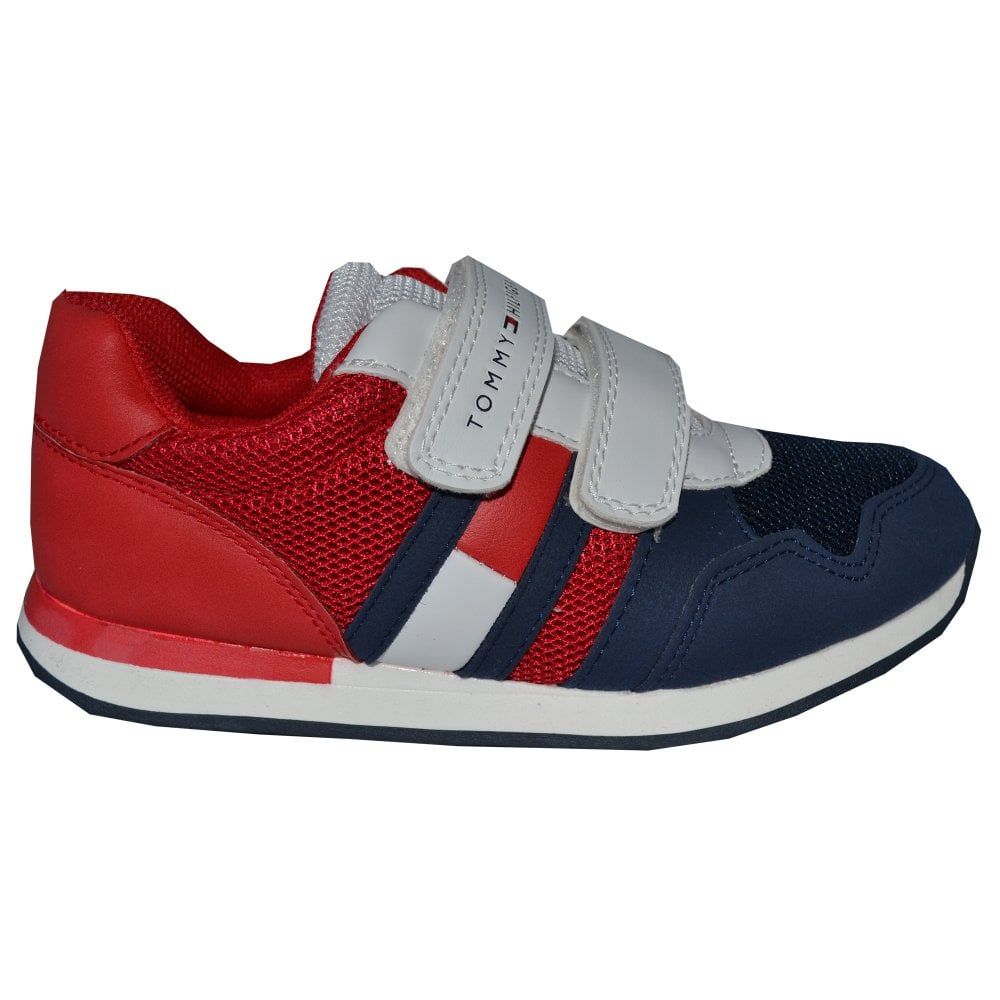 e874c2cf4d1b Tommy Hilfiger Boys Red Blue White Velcro Trainers