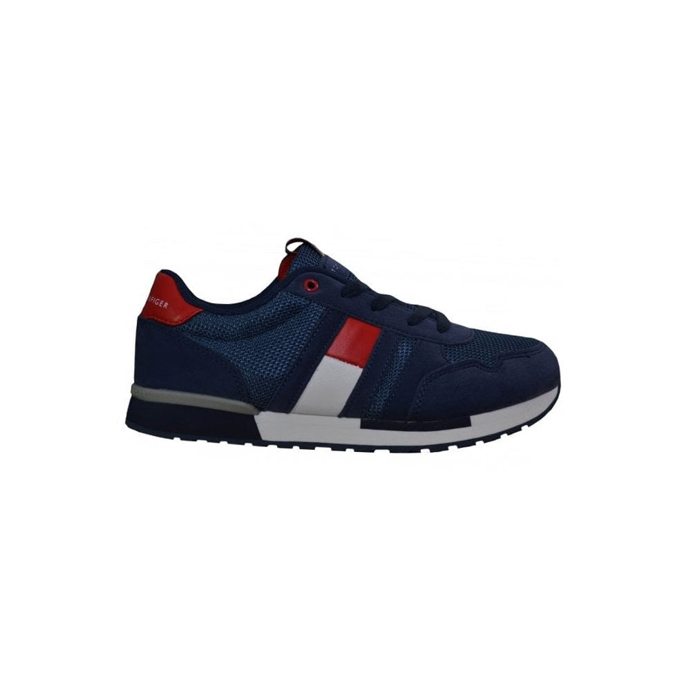 tommy hilifger boys navy blue trainers