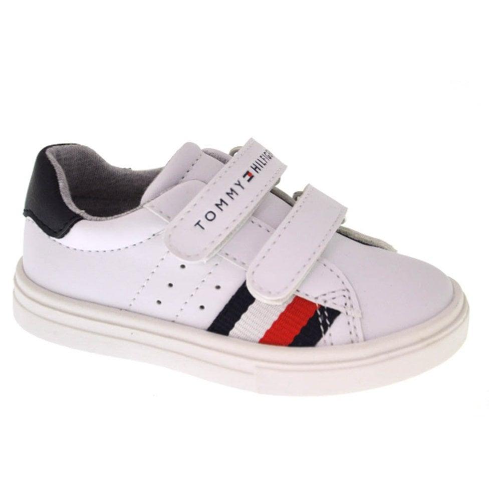 e57f39324500 Tommy Hilfiger Kids Unisex White Velcro Trainers