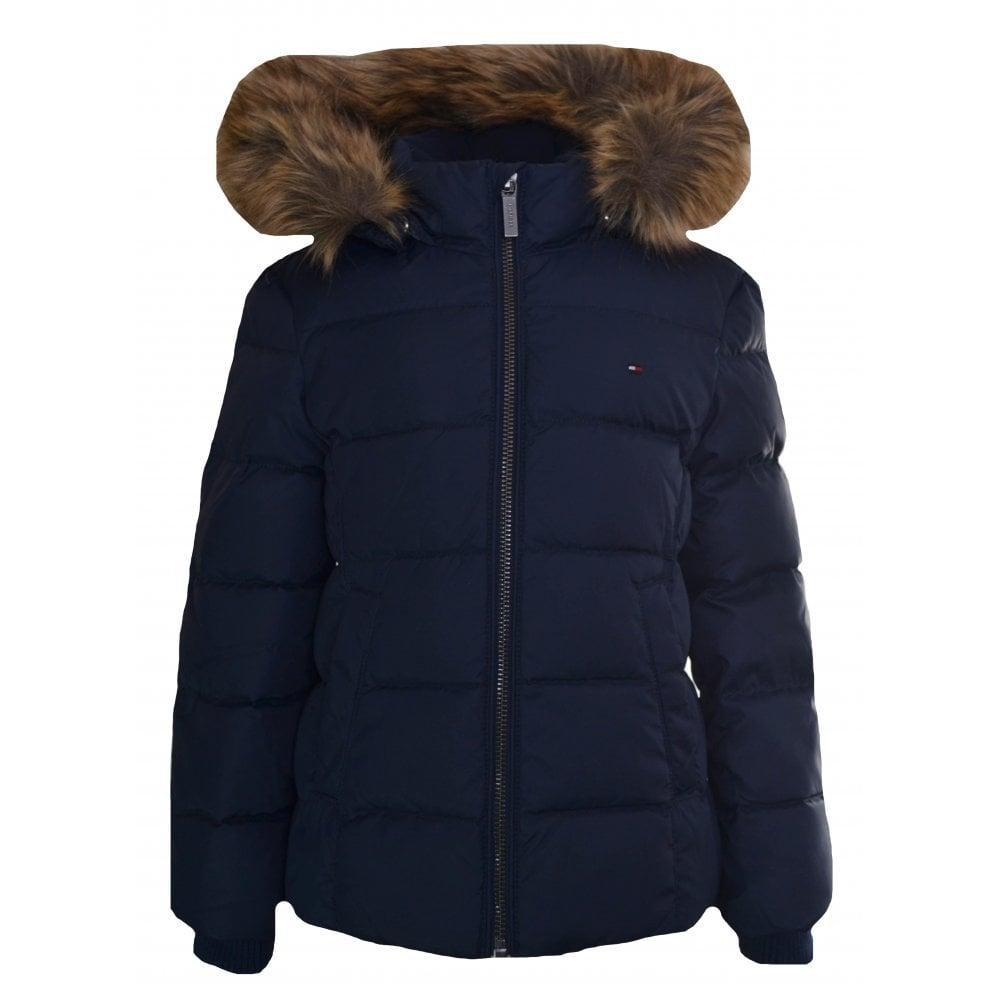 847cb1743 Tommy Hilfiger Girls Navy Blue Faux Fur Trim Hooded Jacket