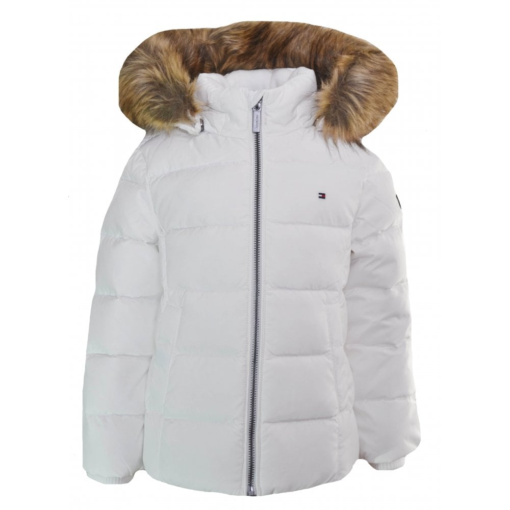 26d24189123eeb Tommy Hilfiger Girls White Faux Fur Trim Hooded Jacket